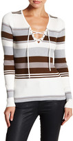 Romeo & Juliet Couture Long Sleeve Lace-Up Stripe Pullover