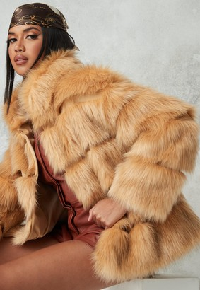 Missguided Tall Camel Faux Fur Coat