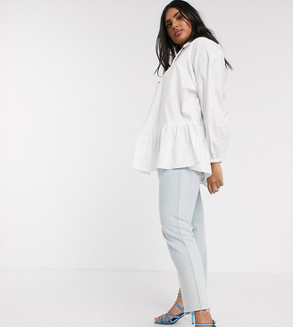Glamorous Curve smock shirt with frill collar and peplum hem in cotton