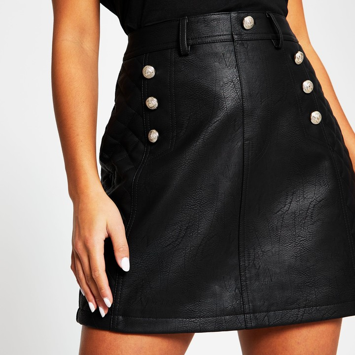 River Island Womens Petite Black faux leather mini skirt