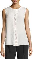 Magaschoni Sleeveless Jewel-Neck Embellished Silk Blouse, Blanc
