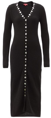 STAUD Nereus Buttoned Rib-knitted Dress - Black
