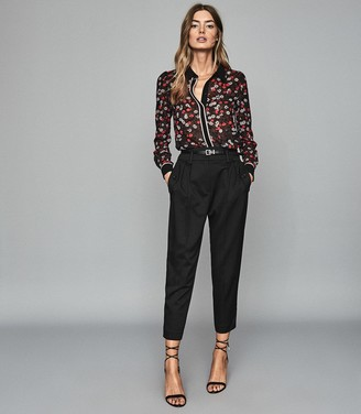 Reiss Poppy - Floral Printed Blouse in Red/ Black