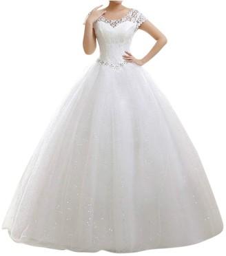 Laozan Double Shoulder Floral Lace Floor Length Bridal Gown Wedding Dress Beige XXL