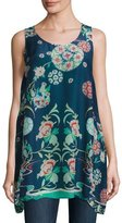 Johnny Was Morning Dew Floral Georgette Tank, Blue Pattern, Plus Size