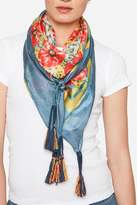 Johnny Was Blue Floral Silk Scarf