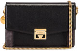 Givenchy GV3 Leather & Suede Wallet on Chain Bag in Black & Grey | FWRD