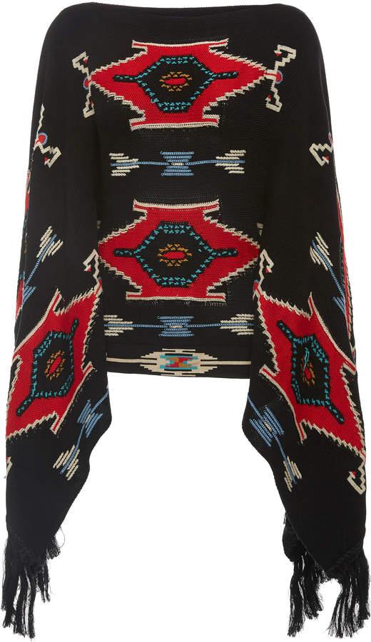 Ralph Lauren Intarsia-Knit Fringed Silk Poncho Sweater