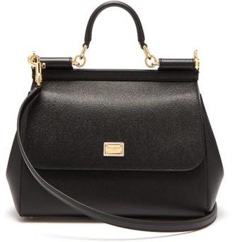 Dolce & Gabbana Sicily Medium Grained-leather Bag - Black
