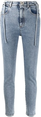 Alessandra Rich High-Waisted Lace-Up Side Skinny Jeans