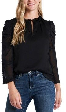 CeCe Floral Puff-Sleeve Blouse