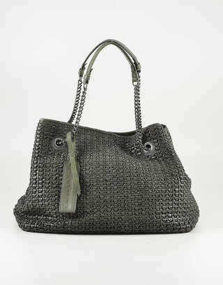 Ermanno Scervino Green Woven Leather Tote Bag