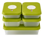 Joseph Joseph Dial Storage Containers with Datable Lids, Green, 2.4/1/0.7 Litre, 5-Piece