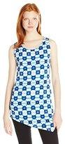 Rafaella Women's Missy Tie Dye Geometry Print Assymetrical Top