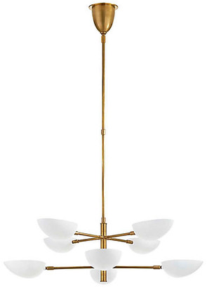 AERIN Graphic Large Two-Tier Chandelier - Brass/White