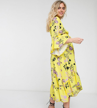 Queen Bee Maternity wrap front fluted sleeve midi dress in contrast floral
