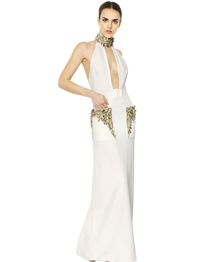 Alexander McQueen Embroidered Viscose Leaf Crepe Dress