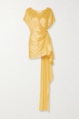 Mason by Michelle Mason Draped Wrap-effect Silk-satin Mini Dress