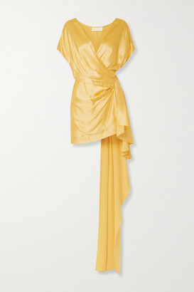 Mason by Michelle Mason Draped Wrap-effect Silk-satin Mini Dress - Yellow