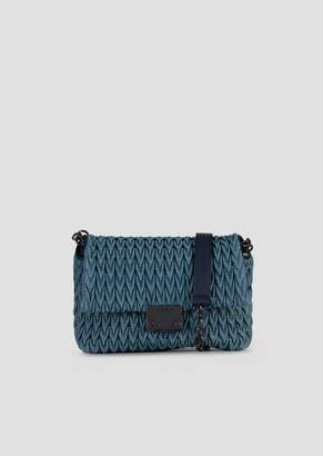 Emporio Armani Medium Cross-Body Bag In Quilted Denim With Drop Motif
