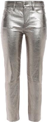Frame Metallic Leather Slim-leg Pants