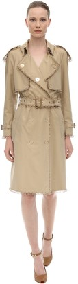 Burberry Cotton Canvas Trench Coat W/ Metal Rings