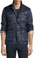 Burberry Gillington Leather-Trim Quilted Blazer
