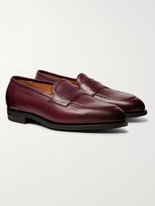 Edward Green Piccadilly Leather-Trimmed Suede Penny Loafers - Men - Burgundy