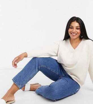 Urban Bliss Plus v neck knitted jumper in cream