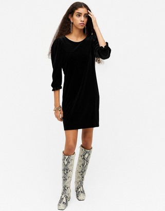 Monki Wilma full sleeve velvet mini dress in black