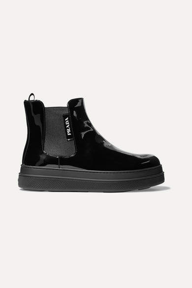 Prada Patent-leather Chelsea Boots - Black