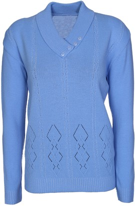 Lets Shop Shop Womens Ladies Button Collar Long Sleeve Top Knitted Jumper Pullover Sweater Plus Size 10 12 14 16 18 (10-12