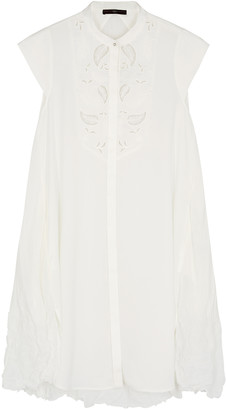 High Interest ivory lace-trimmed matte satin top