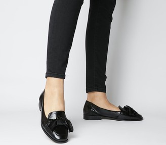 Office Filly Bow Loafers Black Leather Black Sole