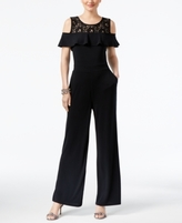 INC International Concepts Petite Lace Cold-Shoulder Jumpsuit, Created for Macy's