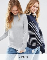 Asos Sweater With Turtleneck in Stripe in Soft Yarn 2 Pack