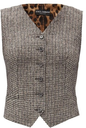 Dolce & Gabbana Houndstooth And Leopard-print Waistcoat - Grey Multi