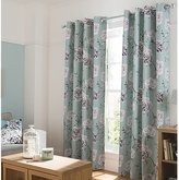 George Home Duck Egg Floral Curtains - (W) 66 x (D) 90 Inch