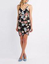 Charlotte Russe Floral Ruched Bodycon Dress
