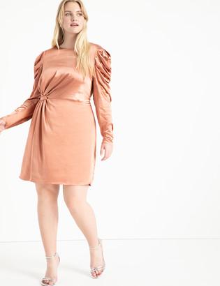 ELOQUII Knot Front Satin Dress