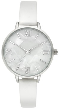 Style&Co. Style & Co Women's White Faux Leather Strap Watch 35mm, Created for Macy's