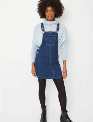 George Dark Blue Wash Denim Pinafore Dress