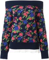 MSGM floral print off-shoulder sweatshirt
