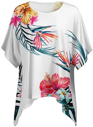 Lily Women's Ponchos WHT - White Sidetail Poncho Tunic - Women & Plus