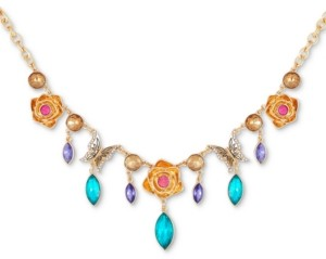 """GUESS Gold-Tone Multicolor Crystal Frontal Necklace, 16"""" + 2"""" extender"""