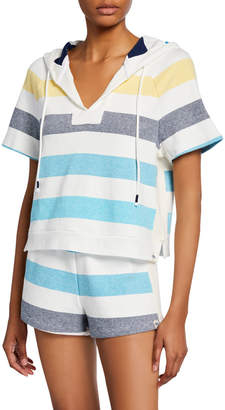 Splendid Shoreline Striped Short-Sleeve Pullover Hoodie