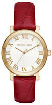 Michael Kors Norie Stainless Steel and Croc Embossed Leather Strap Watch MK2618