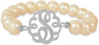 Jane Basch Silver Lace 9.5-10Mm Pearl Initial Stretch Bracelet (A-Z)