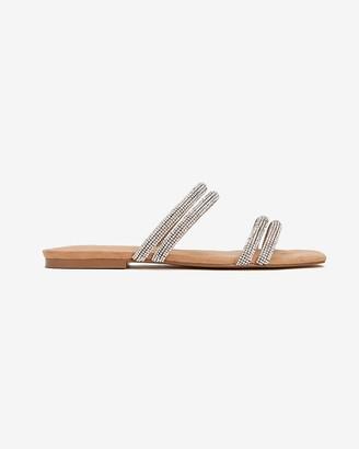 Express Embellished Double Strap Slide Sandals