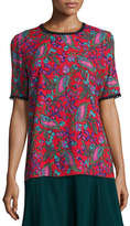 Andrew Gn Printed Short-Sleeve Top, Red